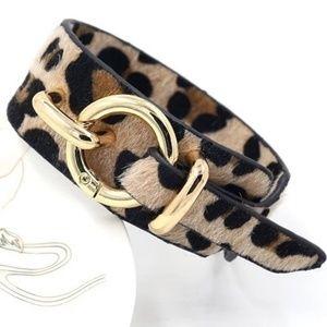 Faux Fur Vegan Leopard Cheetah Bracelet NWT